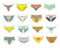 Funny female panties of different kinds. vector illustration