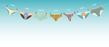 Funny female panties of different kinds on the rope. Days of the Stock Photo