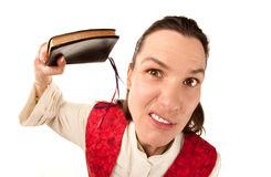 Funny Female Pastor with Bible. Funny female pastor using Bible as a weapon stock photography