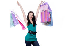 Funny female shopper Royalty Free Stock Photos