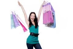 Funny female shopper Royalty Free Stock Photos