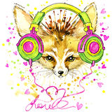 Funny Fennec fox and fashionable headphones with watercolor splash textured Stock Image