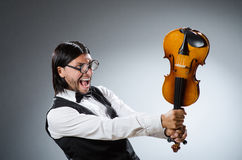 Funny fiddle violin player Royalty Free Stock Photography