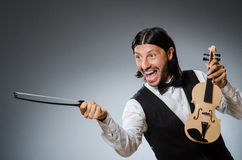 Funny fiddle violin player Royalty Free Stock Image