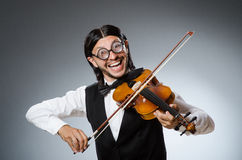 Funny fiddle violin player Stock Photography