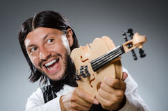 Funny fiddle violin player Stock Image