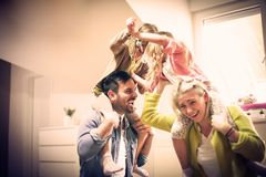 Funny fight. Family at home. royalty free stock image