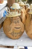 Cuban souvenir from coconut nut. Funny figure of a monkey in a hat is made of coconut, a popular souvenir from a tropical country Stock Photo