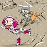 Funny figure skating. Girl and boy skating. Vector cartoon illustration Stock Images