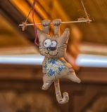 Funny figures of cats sewed from fabric, on sale at the Slavic f. Funny figures of cats sewed from fabric royalty free stock image