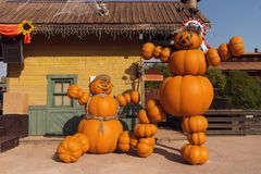 Free Funny Figures Made Of Pumpkins. Halloween Street Decoration. Happy Halloween Concept Royalty Free Stock Photo - 159197795
