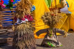Funny figures at the farm fair, Uglich, Russia royalty free stock photos