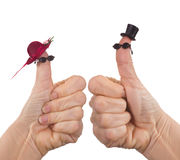 Funny finger puppet tourists Stock Photos