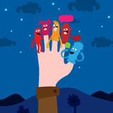 Funny finger puppets. Hand with puppets on fingers Royalty Free Stock Photography