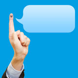 Funny finger with smiley and speech bubble Royalty Free Stock Images