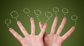 Funny finger smileys with bubbles Stock Photography