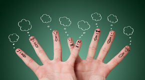 Funny finger smileys with bubbles Royalty Free Stock Images