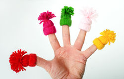 Funny the fingers in hats on stock photography