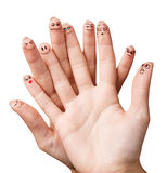 Funny fingers with smiley face Royalty Free Stock Photography