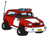 Funny fire patrol car. Hand drawing of a funny big terrain fire patrol car - not a real model Royalty Free Stock Image