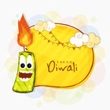 Funny firecracker for Happy Diwali celebration. Indian Festival of Lights, Happy Diwali celebration with creative funny firecracker on abstract background Stock Images