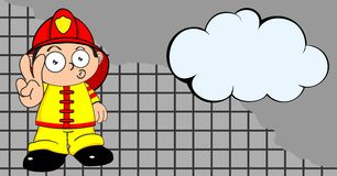 Funny firefighter kid cartoon background. Cute young firefighter kid cartoon background in vector format Stock Photo