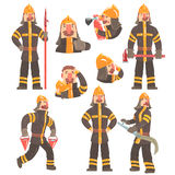 Funny Fireman At Work Using Firefighting Gear And Wearing Firefighter Uniform With Helmet And Bunker Coat. Vector Illustration Set With Fire Rescue Service Royalty Free Stock Photography