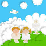 Funny first communion card. First communion card funny groups of children Royalty Free Stock Image