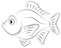 Funny fish. Illustration funny fish, made in black and white Stock Photos