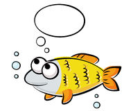 Funny fish. Illustration of funny yellow fish Stock Photos