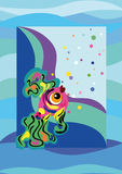 Funny fish. Bright funny fish on the background waves Stock Photography