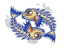 Funny fish bones cartoon mascot in  illustration. Animal cartoon mascot in  illustration. fish bones Stock Image