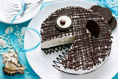Funny fish cake. For kids party stock images