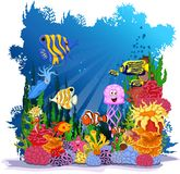 Funny fish cartoon sea life for you design Royalty Free Stock Photo