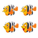 Funny fish character, isolated on white background. Funny fish character. Vector illustration, isolated on white background Stock Photo