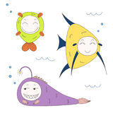 Funny fish. Hand drawn vector illustration of funny fish with cute faces with different expressions, swimming in the sea underwater. Isolated objects on white Stock Photos