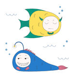 Funny fish. Hand drawn vector illustration of funny fish with cute faces with different expressions, swimming in the sea underwater. Isolated objects on white Stock Images