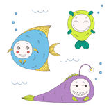 Funny fish. Hand drawn vector illustration of funny fish with cute faces with different expressions, swimming in the sea underwater. Isolated objects on white Royalty Free Stock Image