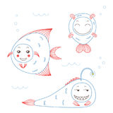 Funny fish. Hand drawn vector illustration of funny fish with cute faces with different expressions, swimming in the sea underwater. Unfilled outline. Isolated Stock Photos
