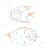 Funny fish. Hand drawn vector illustration of funny fish with cute faces with different expressions, swimming in the sea underwater. Unfilled outline. Isolated stock illustration