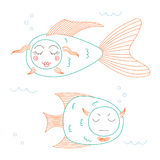 Funny fish. Hand drawn vector illustration of funny fish with cute faces with different expressions, swimming in the sea underwater. Unfilled outline. Isolated vector illustration