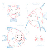Funny fish. Hand drawn vector illustration of funny fish with cute faces with different expressions, swimming in the sea underwater. Unfilled outline. Isolated royalty free illustration