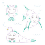 Funny fish. Hand drawn vector illustration of funny fish with cute faces with different expressions, swimming in the sea underwater. Unfilled outline.  objects Stock Image