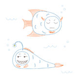 Funny fish. Hand drawn vector illustration of funny fish with cute faces with different expressions, swimming in the sea underwater. Unfilled outline. Isolated Stock Image