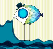 Funny fish keeps the sea. Vector illustration Royalty Free Stock Photography
