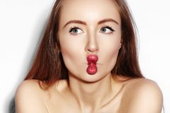 Funny Fish Lips Face with Exprissive Emotions. Beautiful Model Girl with Makeup, Red Lip, Perfect Skin. Fishlips. Comic style for selfie royalty free stock photography