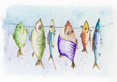 Funny fish. Mackerel, sprat  and  scad, swim in the sea. Handmade watercolor painting illustration on a white paper art background Royalty Free Stock Image
