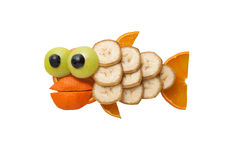 Funny fish made of fruits royalty free stock image