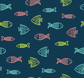 Funny fish outline pattern on dark background Royalty Free Stock Image