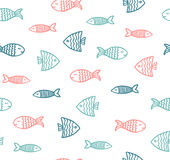 Funny fish outline pattern. On white background Royalty Free Stock Photos